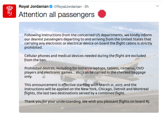 Royal Jordanian warns about electronics prohibition on US flights