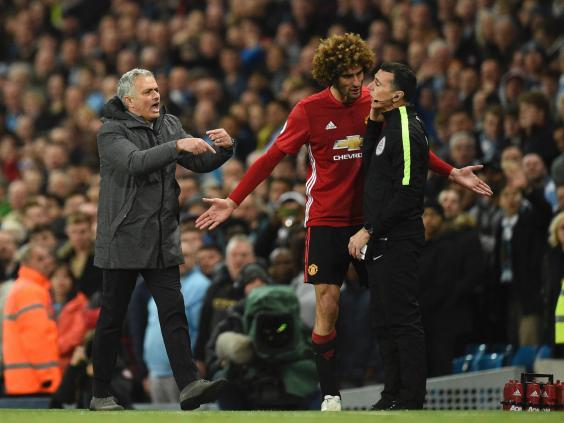 In the end Fellaini's red may almost have done Mourinho a favour