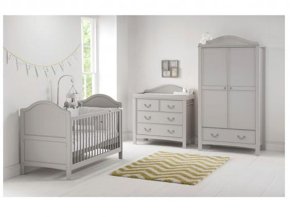 breaking away from traditional white this set has a grey finish that hints at french antique style little flourishes u2013 curved panels moulded details and