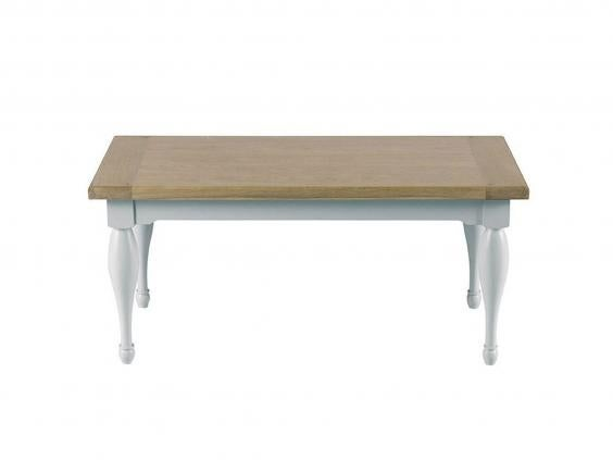 This Wood Coffee Table Has Just A Hint Of Country Styling, With Turned Legs  And Base In Birch With A Light Grey Painted Finish. The Oak Rectangular Top  Has ...