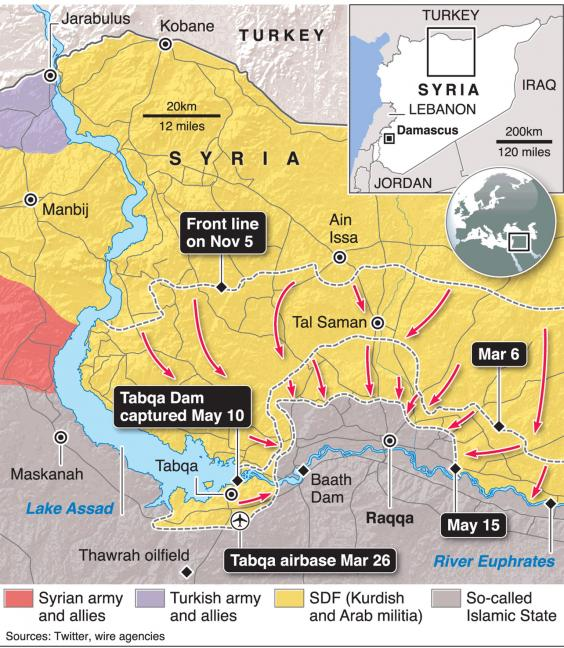 The state of play in late May, as the SDF closed in on Raqqa from the north, east and west. Baath Dam has since been captured and the SDF says it is within 1km of the city to the east (GraphicNews)
