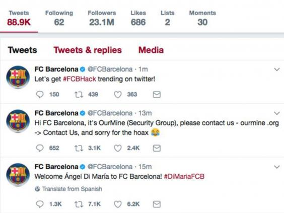 Image result for Barcelona's Twitter account hacked