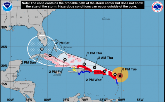 The Us National Weather Service Map Of The Expected Trajectory Of Hurricane Irma Us National Weather Service