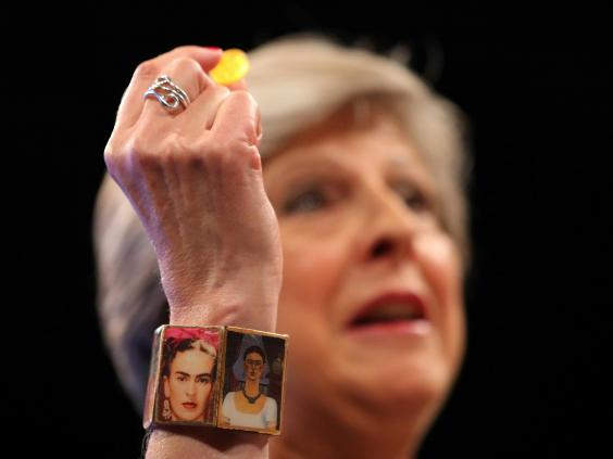 Theresa May Attacked for wearing bracelet Decorated with Mexican painter Frida Kahlo