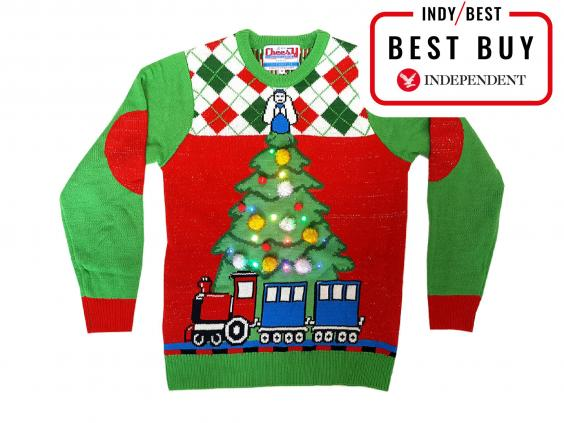 cheesy christmas jumpers tree and train light up christmas jumper 4999 cheesy christmas jumpers - Light Up Christmas Tie