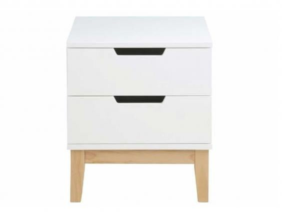 the bedside cabinet has two goodsized drawers for hiding essentials and is made of mdf with a finish