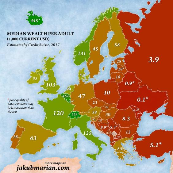 The wealthiest countries in europe mapped indy100 wealth per adult median europeg gumiabroncs Choice Image