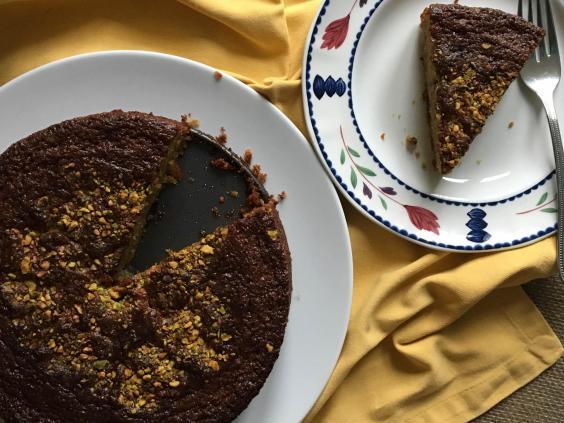Резултат со слика за How to make a pistachio and cherry polenta cake