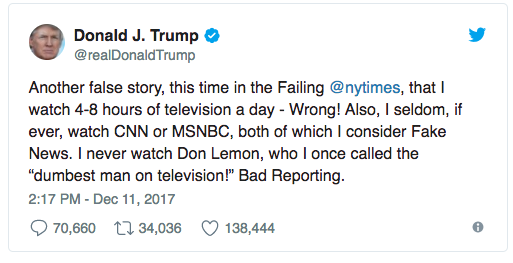 Image result for images of tweets by trump about his tv watching