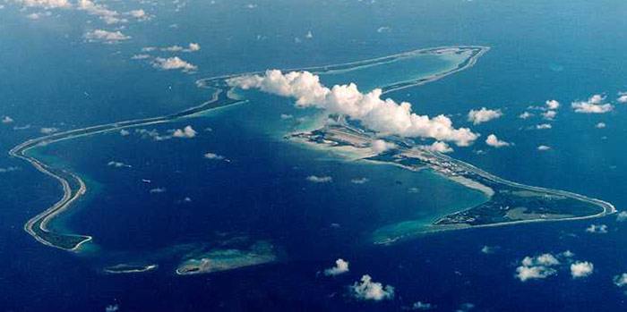 David Miliband told MPs that two CIAflights landed at the RAF air base on Diego Garcia (above)