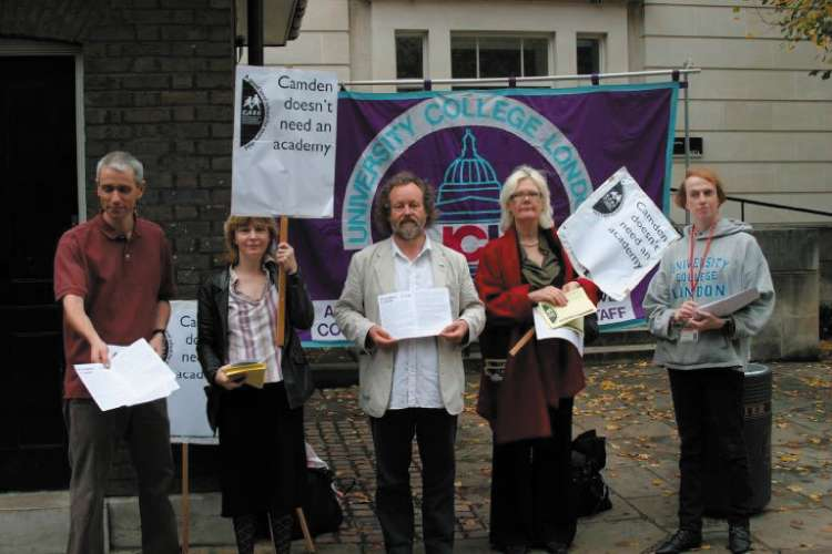 No to an academy: protesters outside University College London © Camden New Journal