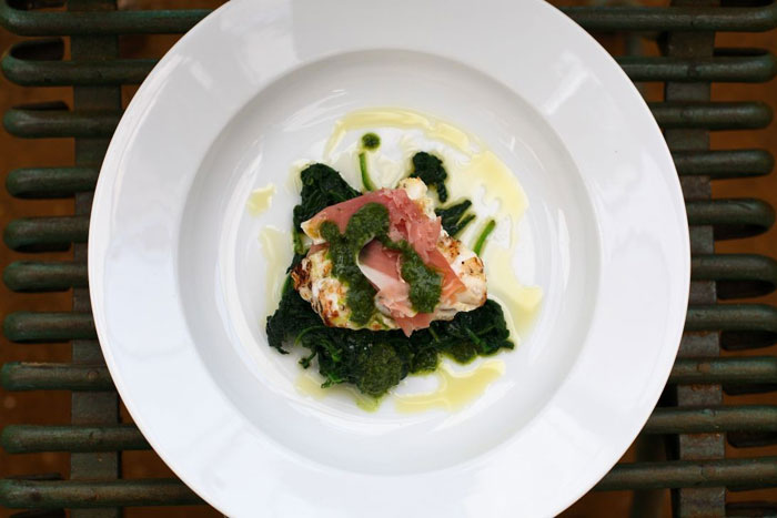 Grilled monkfish with parma ham and basil oil the for Monkfish and parma ham recipe