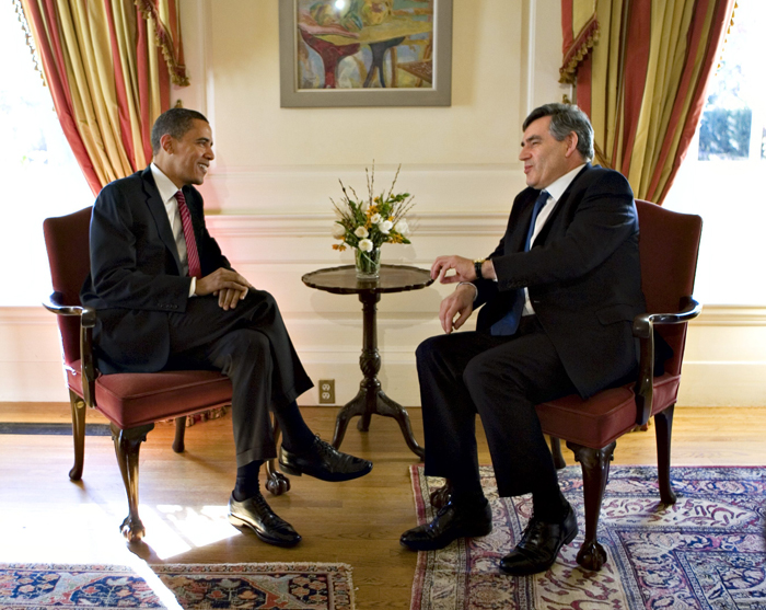 Gordon Brown meets with presidential hopeful Barack Obama yesterday