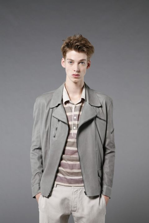 Leather jacket, £799, and rugby T-shirt, £159, both by Nicole Farhi, menalamode.com