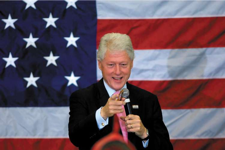 Bill Clinton at a campaign rally for his wife, Hillary, in Apex, North Carolina, yesterday