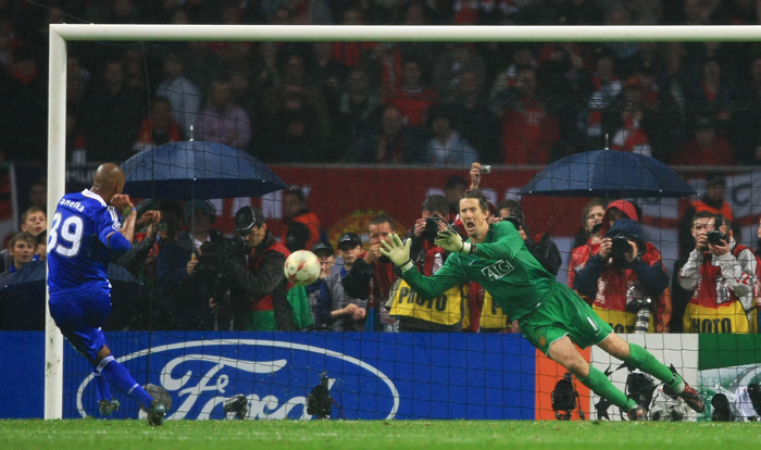 Nicolas Anelka's penalty is saved by Edwin van der Sar to hand the European Cup to Manchester United