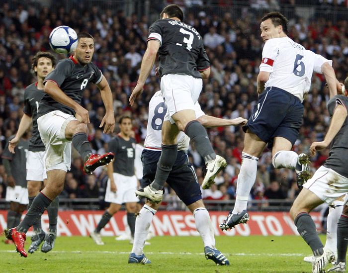 England captain John Terry opens the scoring against the United States at Wembley last night