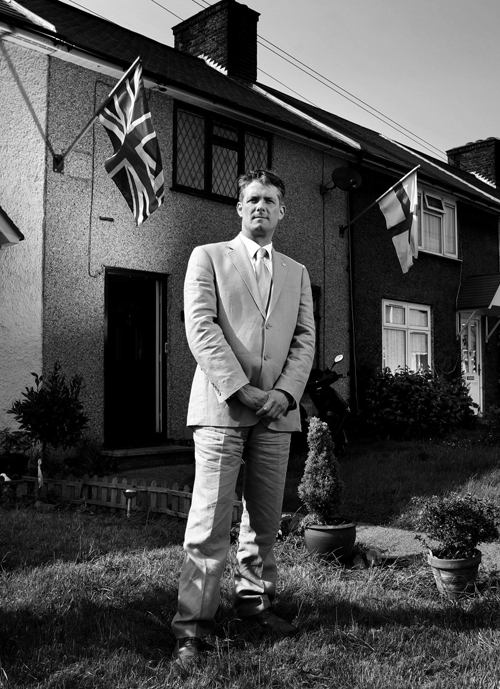 The BNP's London Assembly member Richard Barnbrook outside his Dagenham home