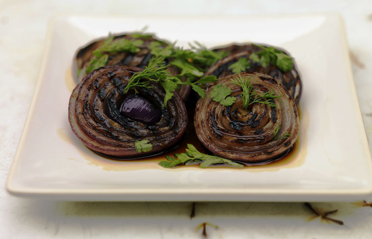 Grilled Red Onions With Mirin And Soy