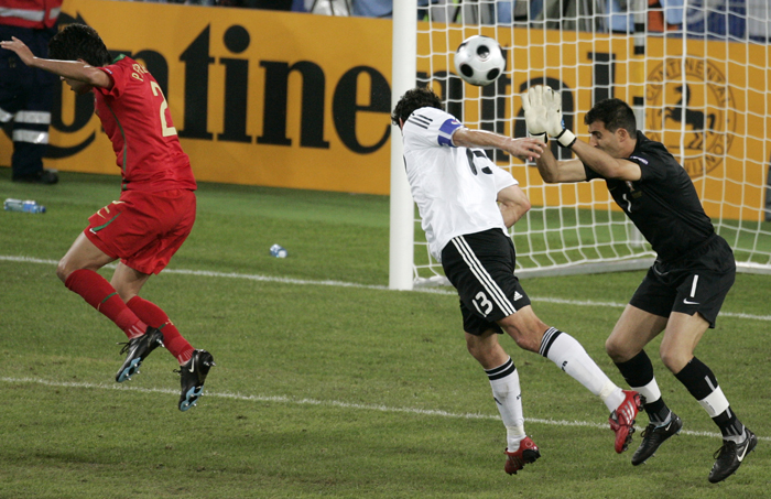 Ballack (centre) scores to put Germany back in control last night