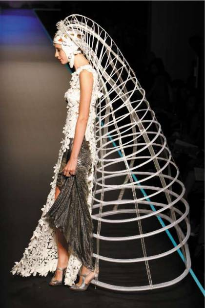 The gown recalled the iconic cage dress made for Grace Jones