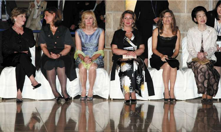 Wives of the G8 leaders at a social event in Hokkaido yesterday