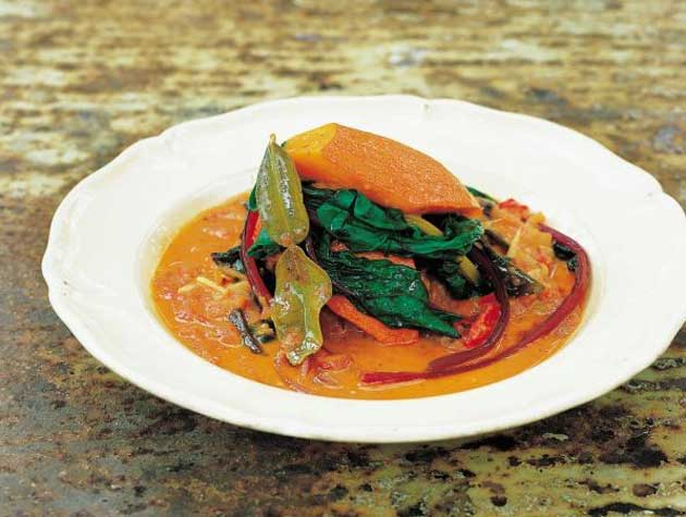 Serve with a tangle of blanched chard or spinach leaves dressed with lime juice and olive oil
