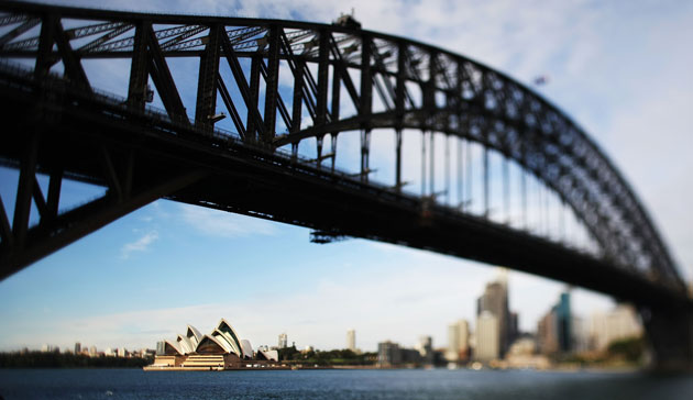 Seen through the harbour bridge, Sydeney Opera House is one of the world's most recognisable buildings