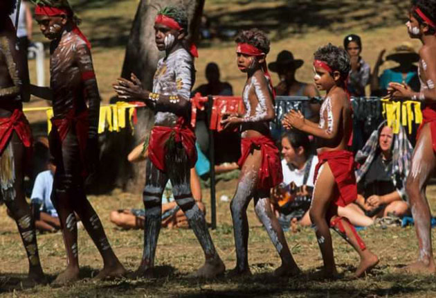 Australia's Aborigines participating in a traditional ceremony in Cape York