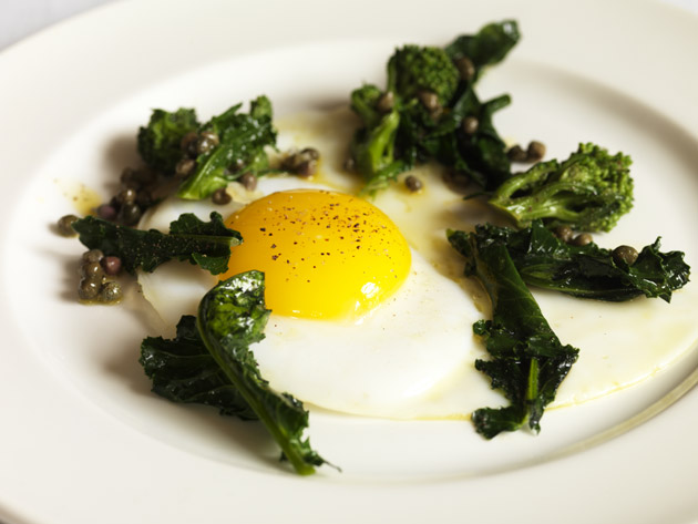 Image result for Purple Sprouting Broccoli with Pancetta and Soft-Boiled Eggs