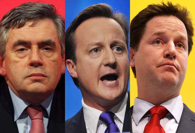 Party leaders Gordon Brown, David Cameron and Nick Clegg will debate on TV