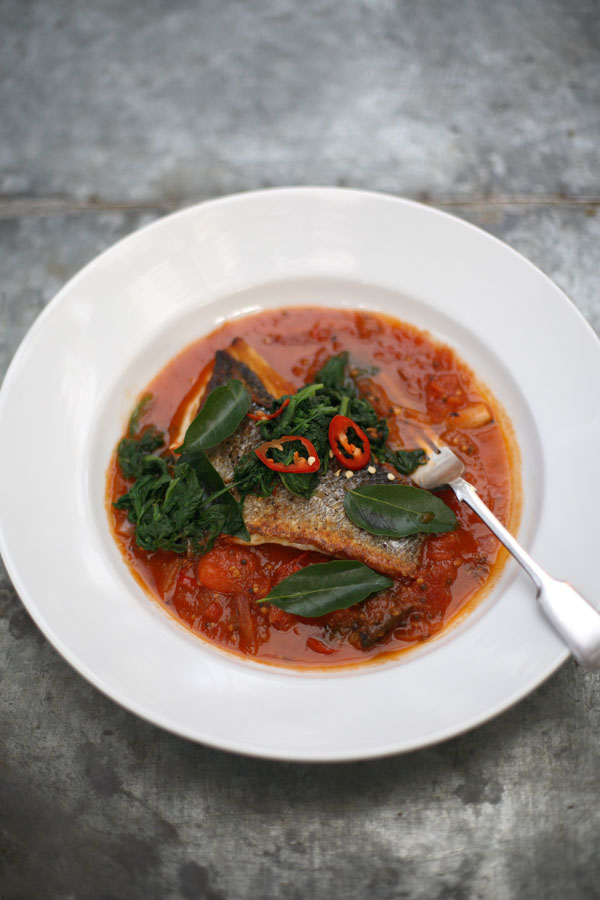 Serve with a little warm, cooked spinach, stirred through