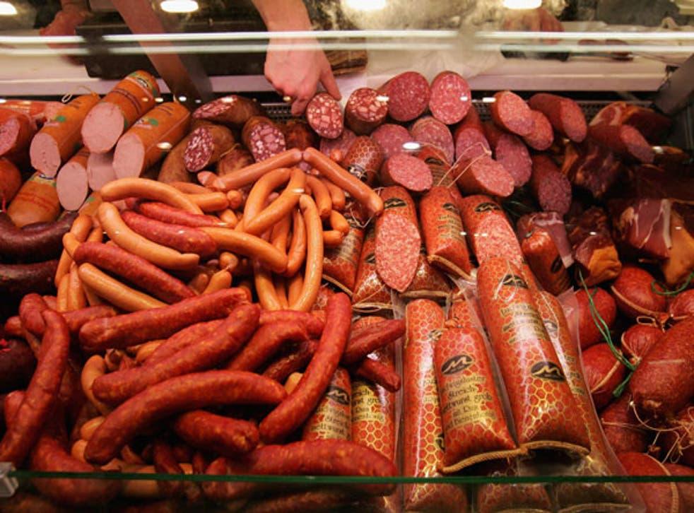Pork sausages at a deli counter