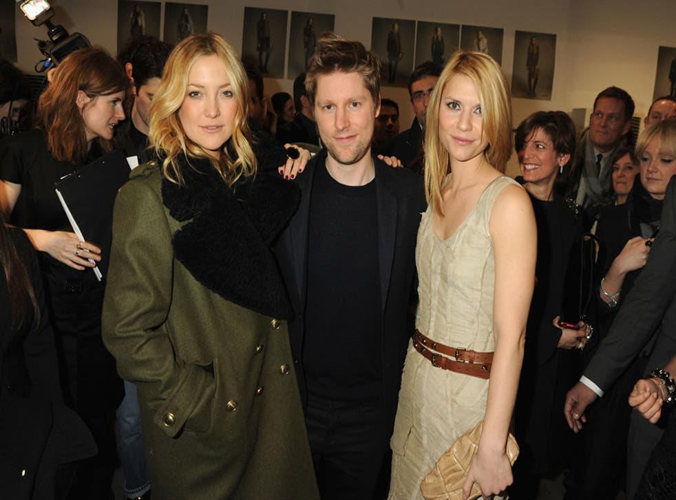 British designer Christopher Bailey with Kate Hudson and Claire Danes