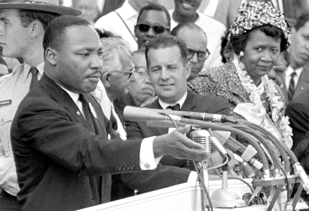Martin Luther King during his famous 'I have a dream' speech in Washington in 1963