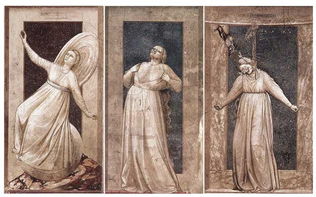 Image result for Giotto's Frescoes in the Scrovengi Chapel in Padua Italy Seven Christian virtues: