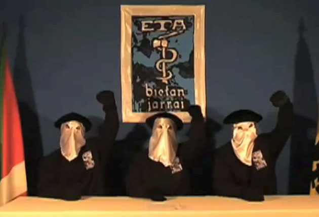 ETA separatists in a 2010 video announcing its intention to seek a political solution