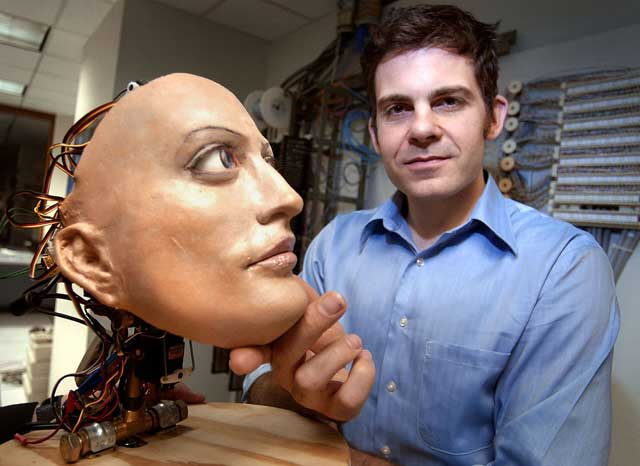 Ahead of the game: David Hanson with his animated robot head, Hertz