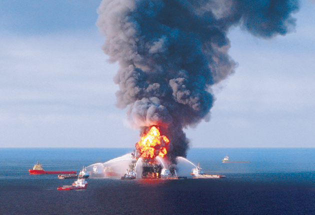 Fire boat response crews fight the blaze on the remnants of Deepwater Horizon