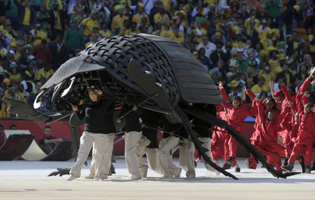 """<b>World Cup, 2010 </b><br/> The most recent World Cup in South Africa included an unexpected appearance during the opening ceremony... a human sized dung beetle. And as surprising as that was, there were open mouths when two slightly smaller beetles were seen rolling around football size pieces of dung. <br/><br/>  <a href=""""http://youtube.googleapis.com/v/wOSTPU3MgFg?fs=1&amp;hl=en_GB"""" target=""""new"""">Click here to WATCH.</a>"""