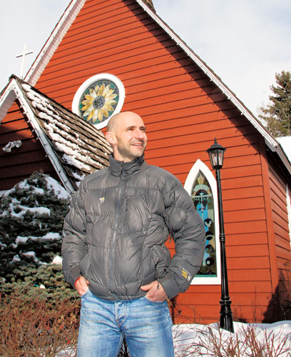 Gavin Peacock outside his local church in the Canadian Rockies in 2010