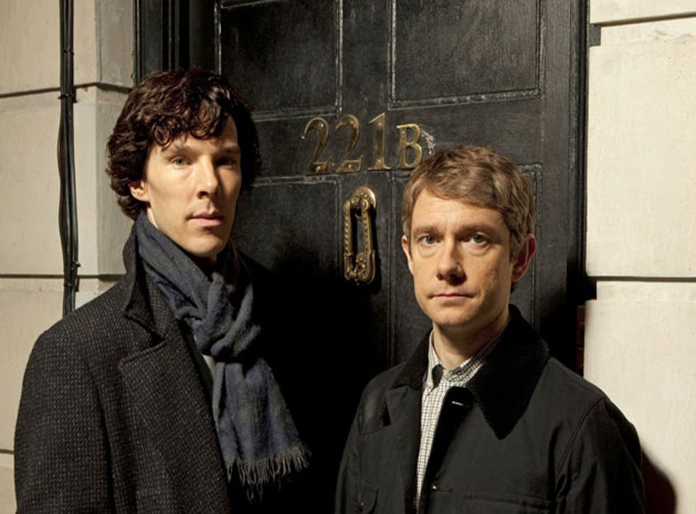 Benedict Cumberbatch and Martin Freeman as Holmes and Watson in Sherlock