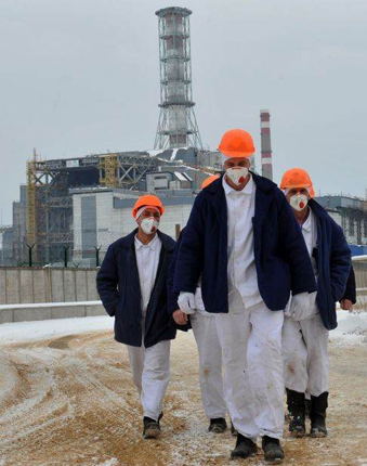 Workers at the Chernobyl site
