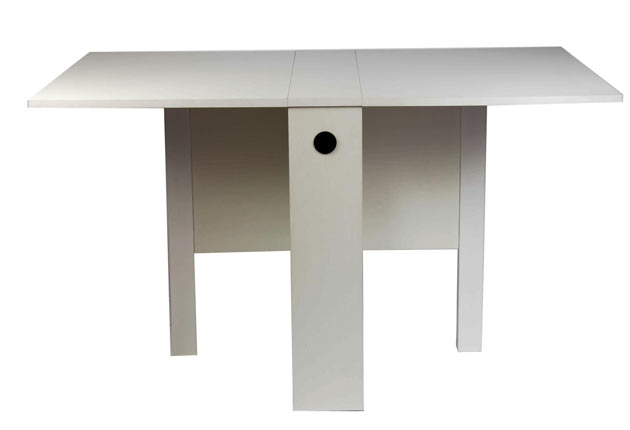 CALLIGARIS COMPACT:<br/> Low-price doesn't necessarilymean a lack of style or design features, as the Calligaris proves. Only 20cm-deep when closed,the white melamime-coatedtable opens out to seat fourpeople comfortably andrelatively elegantly.<br/>