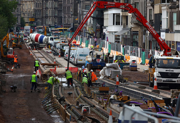 The workmen moved into Princes Street in 2009, but the tram service is now six months behind schedule