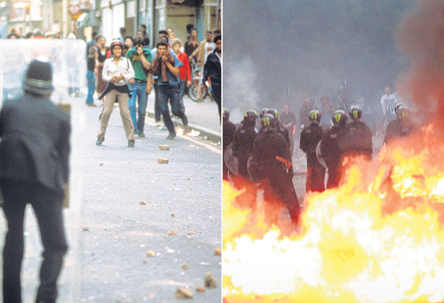 Left: Brixton in 1981: Rioters have returned to the streets of Brixton after 30 years, right