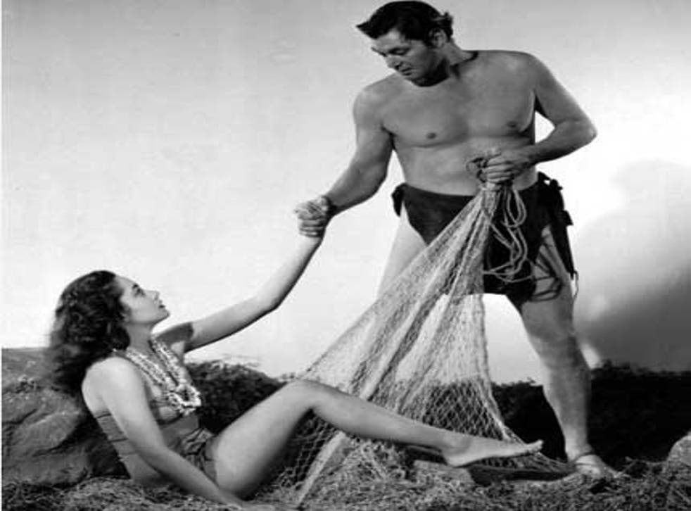 Christian with Johnny Weissmuller in 'Tarzan and the Mermaids'