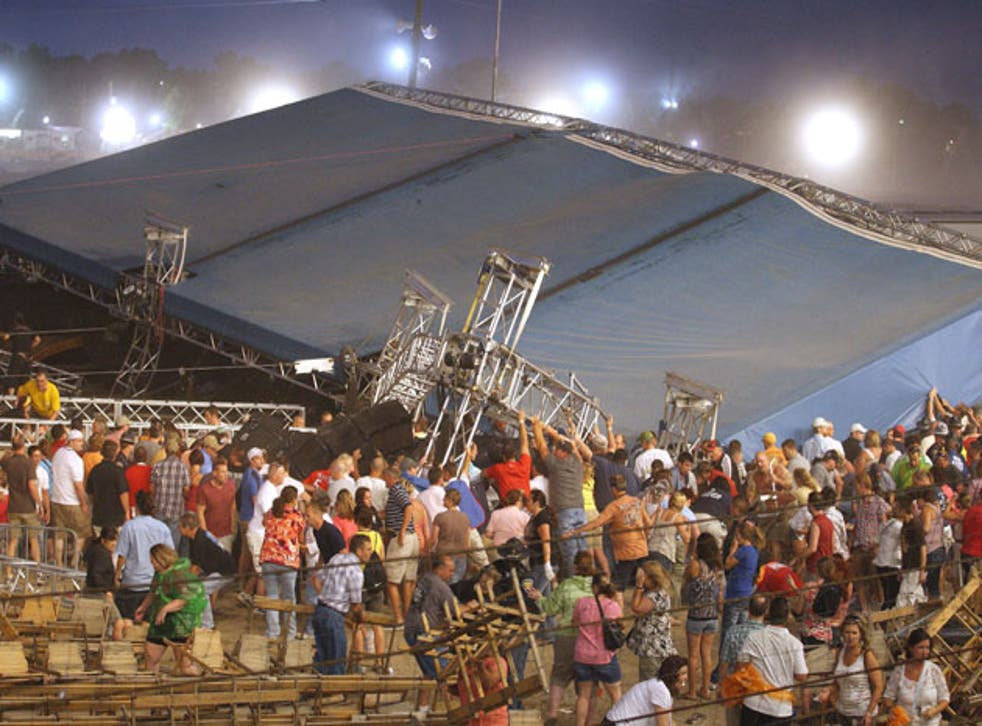 The stage collapses as a storm approaches the Indiana State Fair in Indianapolis on Saturday night