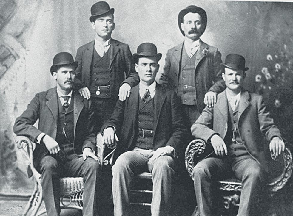Butch Cassidy (front right) and the Sundance Kid (front left) in a 1900 picture the Wild Bunch gang sent to a bank they had robbed