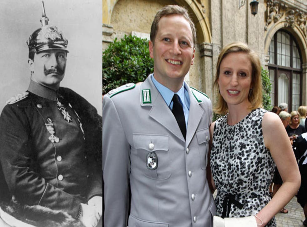 Kaiser Wilhelm II (left) and his great-great grandson Georg Friedrich with Sophie, his bride-to-be